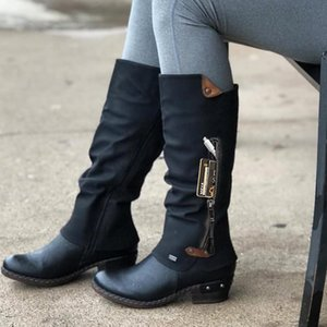 Autumn And Winter Women's Leggings Knight Boots Thick Heel Round Head High Tube Side Zipper Leather Stitching Pure Black Knight