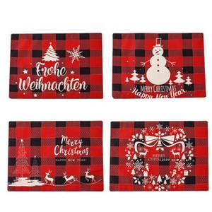 عيد الميلاد الكتان تحديد الموقع 30 * 40CM الأحمر والأسود شعرية عشاء عيد الميلاد تحديد الموقع عيد ميلاد سعيد رسائل مطبوعة الجدول حصيرة