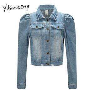 Chaquetas de mujer Yitimuceng Jean Chaqueta para mujer Cuello de giro sólido suelto Casual Azul Negro Abrigo Femenino Outwear Denim 2021