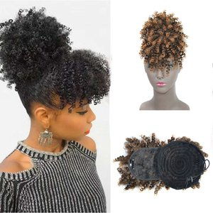 Synthetic Hair high-temperature resistance fibre Afro kinky curly bang Hair ponytail Curl Hair Piece Length 4inch