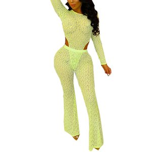Mesh Sheer Sexy Women Sets Long Sleeve Round Collar Top Romper High Waist Flare Trousers See Through Two Piece Suits