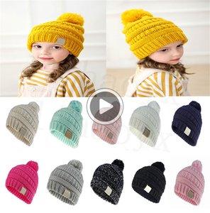11 цвета детской шапки сплошной цвета детской тканой вязания крючок девочки мальчик мода зима теплая шапка acssories DC912