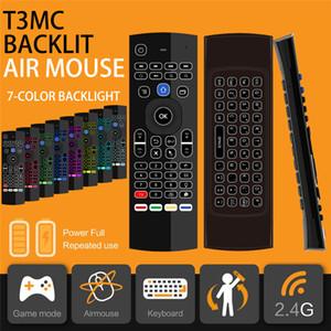 T3MC Backlight Mic 2.4G Fly Air Mouse T3 MX3 7 cores retroiluminado com Microfone Mini Keyboard IR Aprendizagem controle remoto sem fio