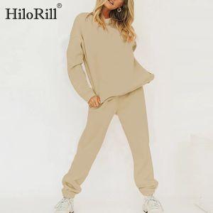 Hilorill Donne Tracksuit Solido Casual Casual Hoodies Suit 2020 Home Style Sweatspants Set Pantaloncini a vita alta Ladies Sport Outfit