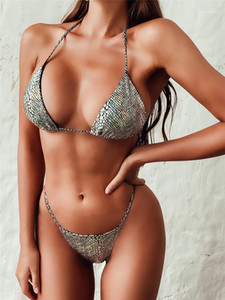 Women Bathing Suits Sexy Hot Stamping Womens Bikinis Summer Designer Sequins Bikinis Solid Color Womens Three Point Swimsuit
