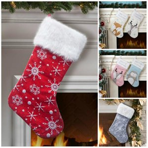 7 Style Christmas Stocking Christmas party Decoration Xmas kids candy bags Cute fox Penguin Xmas socks kids party favor gift T9I00503