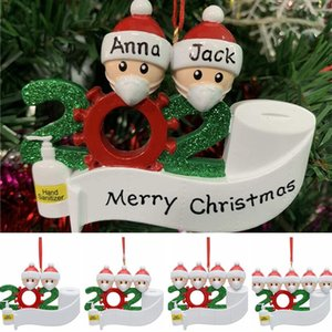 2020 Quarantine Christmas Decorations 4 Styles Hanging Xmas Ornament Mask Snowman Christmas Ornament Without Letter CCA12491 50pcs