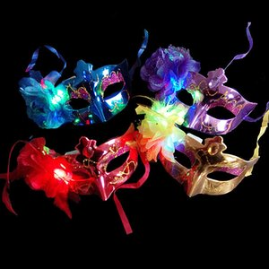 LED Halloween Party Masks Flash Glowing Flowers Mask Mardi Gras Masquerade Cosplay Venetian Masks Halloween Costumes Party Gift HH7-182