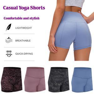 Solid Color High Waist Frauen Yoga Shorts Neunte Hose Sport Gym Kleidung Übung Fitness Wear beiläufige Eignung der Damen Overall Laufhose