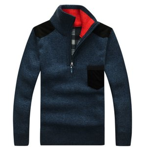 Suéter de cuello alto La mitad de los hombres de invierno Zip Fleece Pullover de punto de lana de manga larga ocasional del bolsillo masculino gruesa ropa para el otoño