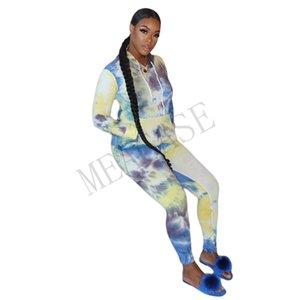 Kadınlar Uzun Kollu Hoodie Seti 2 adet giyim Kravat boya Kazak tişört Tozluklar Pantolon Eşofman Kazak spor kıyafetler D81010 uyacak