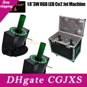 Roadcase의 경우는 18x3w 주도 이산화탄소 제트기 기계 RGB 3IN1 전문 이산화탄소 제트 250w 단계 DMX 이산화탄소 열 제트 기계 무료 배송 Tp를 -T22을 2xlot