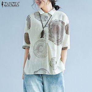 2020 Eté à manches courtes Chemisier imprimé ZANZEA Vintage Shirts Women Casual Lapel Blusas Hauts pour femmes Taille Plus Tunique Chemise 5XL