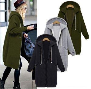 Nuova cerniera maglione solido cappotto maglione di colore del cappotto di velluto Plus Pocket Zipper Hooded media lunghezza donne htBz4