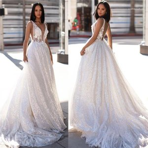 Hollow Out Backless Sleeveless White Tulle Dresses Famale Sequins Trailing Long Dress Women V Neck Wedding Dress Lace