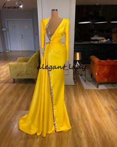 Длинные рукава Вечерние платья Pageant 2021 Real Image Sparkly Кристалл бисера V-образным вырезом Русалка Полная длина выпускного платья Vestidos