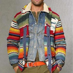 Knitting gola Casual Quente Mens Cardigan Impresso Camisolas Outono de Natal Sweater Homens Moda Impresso Jacket Brasão