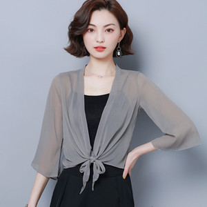 Summer Chiffon Blouses Kimono Cardigan Mesh Transparent Sunscreen Women Beach Cover Up Outwear Plus Size Bow Wrap Shirt Cardigan
