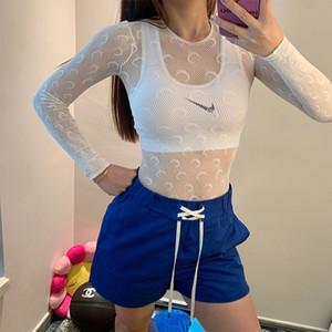 Marinha Serre Camiseta Lua Womens Padrão ver através de manga comprida Tops Elastic Magro camiseta Moda T básico em preto Branco