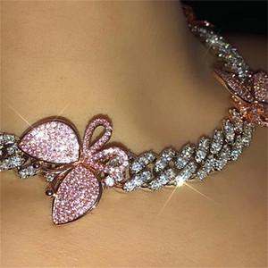 GLAMing Pink кубинской Ссылка бабочка Choker цепь ожерелье Кристалл Rhinestone Чокеры ожерелье для женщин Золотого Ошейника Оптовой T200824