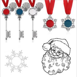 Porte magique Pendentif clé du Père Noël Snowflaw keychian Noël Pendentif clé Ornements Décorations de ruban rouge Pendentif LSK740
