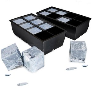 Black 8 Big Tray Mold Giant Jumbo Large Silicone Ice Cube Square Tray Mold DIY Ice Maker ice cube tray Kitchen Tools