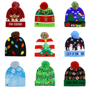 LED Light Knitted Christmas Hat Unisex Adults Kids New Year Xmas Luminous Hat Merry Christmas Party Light Beanie Sweater Hats DHC987