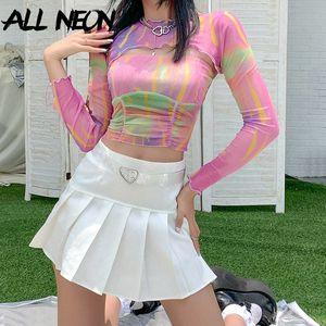 ALLNeon Y2K Moda Yaz Batik Şeffaf Mahsul Uzun Kollu Ruffles tişörtler 90S Erken T200812 kadar Mesh e-kız Sweet Dantelli Dantel Tops