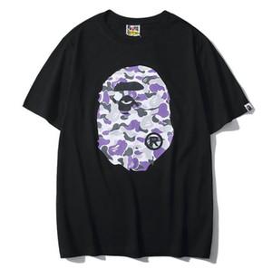 Femininos Verão Pattern Manga Curta Camo de impressão em torno do pescoço T-shirt do amante T-shirts Personalidade Casual Hip Hip