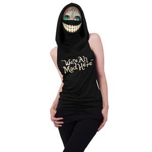 Women Halloween Cosplay Tshirt 3D Skull Hooded Sleeveless Letter Slim Fit Tees Famale Designer Clothes