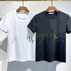 I più nuovi mens Estate Parigi di lusso abbigliamento trapano a caldo t-shirt diagonale lettera della stampa maglietta di modo magliette delle donne magliette Designer Casual Tee