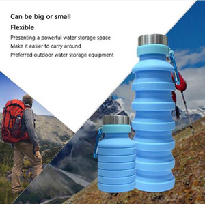 550ML 19oz Portable Retractable Silicone Water Bottle Folding Collapsible Coffee Water Bottle Travel Drinking Bottle Cups Mugs BPA Free Sold