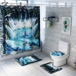 Ванные коврики Ванная комната Коврик коврик и занавес для душа 3d Dolphin Parted Room Коврик