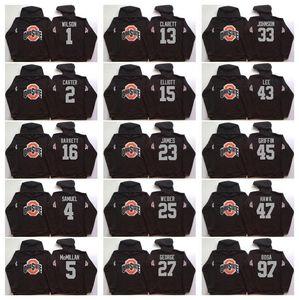 NCAA ولاية أوهايو كلية بوكس 97 بوسا 15 إليوت 12 C.JONES 16 باريت 1 B.Miller الأسود لكرة القدم هوديي البلوز مقنع الستر الفانيلة