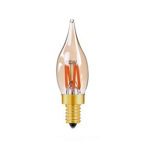 lâmpada LED E14 vela regulável luz E12 decorativo candelabro 2W LED 2200K lâmpada de filamento