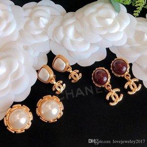 ágata con perlas de joyería de diseñador de las mujeres pendientes de clip de oreja pendientes de clip de alta gama de alta calidad en oro rosa elegante del perno prisionero de vuelta circular para el tornillo