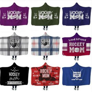 Hockey Hooded blankets Plush Sherpa Blanket Xmas 3D Printed Cape Cloak Fleece Soft Winter Swaddling Bedding Quilt Nap Wraps DHF1174