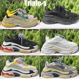 الثلاثي S منصة حذاء أزياء الرجال النساء المدربين Chaussures باريس 17FW الثلاثي الأسود الرياضة في الهواء الطلق خمر قديم أبي أحذية عارضة