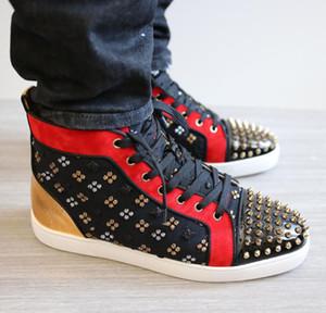 [Original Box + Ricevuta + borsa] Famoso inferiore rossa Spikes Orlato inferiore rossa High Top Sneakers ricamo Loubins Studs Studs Skateboarding