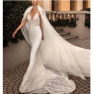 Elihav Sasson 2020 Mermaid Wedding Dresses With Cape Feather Lace Appliqued Sweep Train Spaghetti V Neck Trumpat Plus Size Bridal Gowns