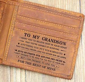 Para o meu neto de Slim Mens RFID Couro Bloqueio minimalistas cartão de bolso frontal Bifold personalizado na caixa de presente
