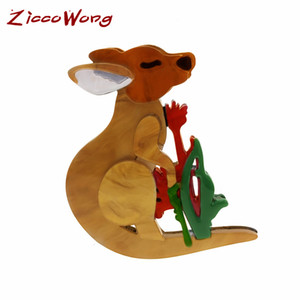 ZiccoWong Fashion Animal Kangaroo Brooch Pin For Women Girl Cute Lovely Cartoon Animal Lapel Pins Hat Backpack Brooch Gift