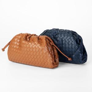 Cuero tejido manera suave nube Bolsas para mujeres 2020 del nuevo diseñador de lujo del hombro del mensajero del bolso Pequeña Dama bolsos