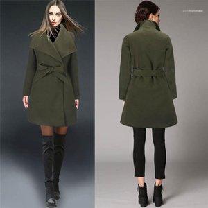 Mäntel Fashion Solid Color Frauen Oberbekleidung Casual Weibliche Wollmäntel New Schärpen Revers Neck Frauen-Winter