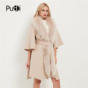 Pudi women real fur coat jacket female lady wool blends raccoon fur collar coats jackets long trench CT035