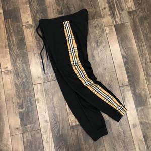 20SS брюки мужчина Европа тенденция моды брюки для мужчин Классической решетки лямки пары Терри ткани с решеткой сшивание брюки