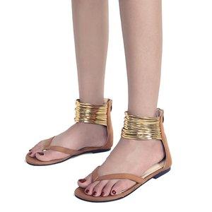 Süet Büyük Beden Roman Gladiator Sandal Herringbone Ayaklı Moda Kadın Sandalet Altın Bilek Kayışı Düz Topuk Sandalet Ücretsiz Gemi