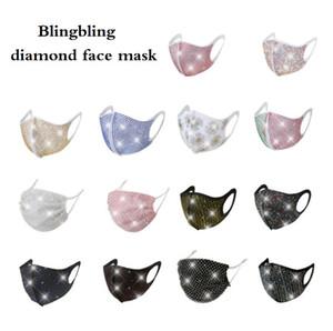 Mode Blingbling diamant visage Masque lavable réutilisable Masque couverture pare-soleil de couleur d'or Elbow Paillettes Designer Masques Brillant Face Party