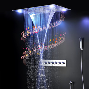 Bathroom Accessories LED Massage Shower Head Faucets Misty Waterfall Music Shower Set Thermostatic Mixer Luxury Shower