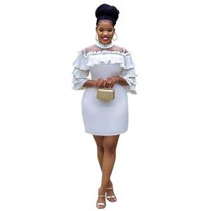 أزياء الخريف النسائية فساتين اللون الأبيض الكشكشة الرقبة العالية سليم مش المرقعة المرأة الهيئة غير الرسمية الفساتين مصمم الملابس 2020